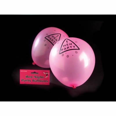 Pack of 12 Latex Pink Hen Night Party Balloons