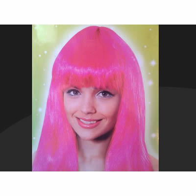 Long Pink Fancy Dress Wig
